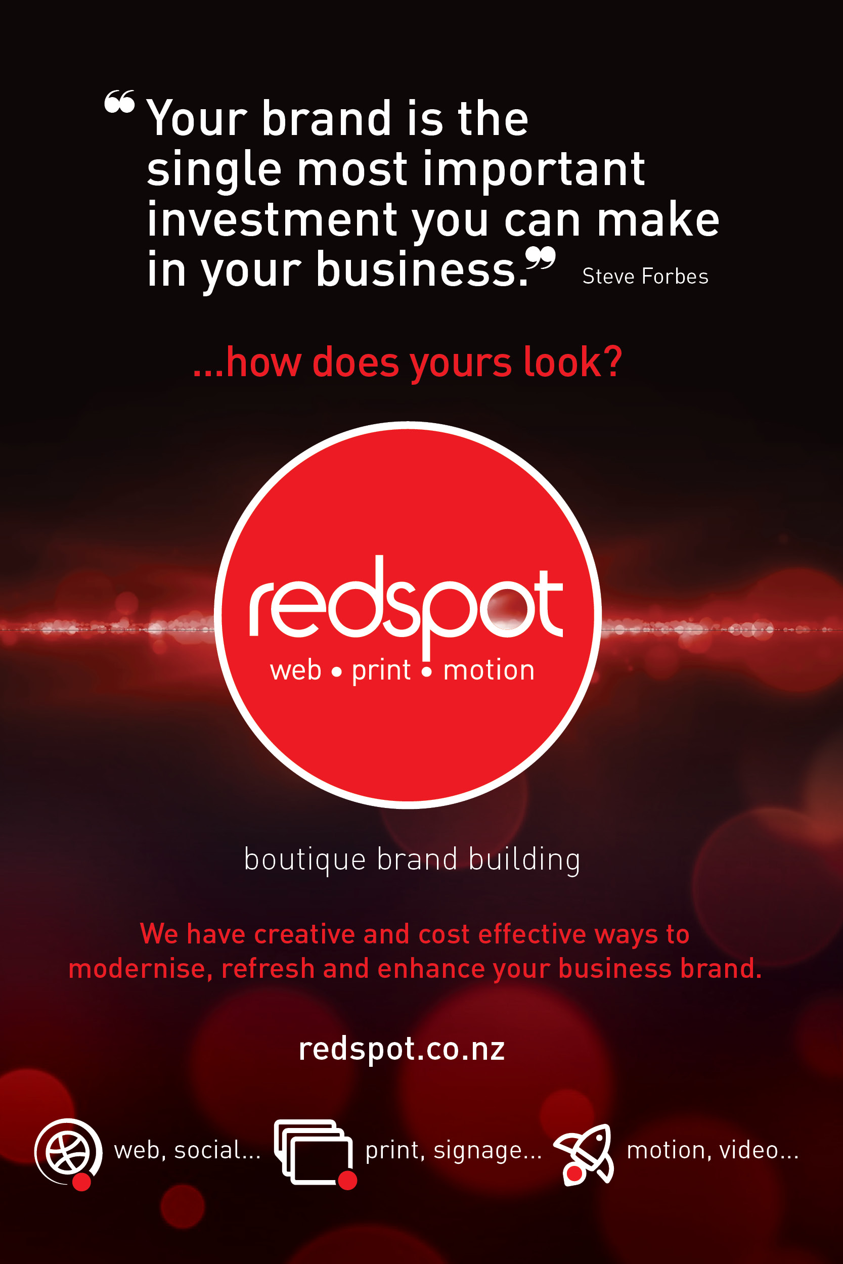 Redspot logo with red and white text