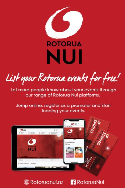 Advertising banner in red for Rotorua Nui with white text