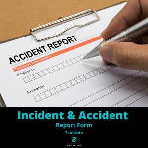 Accident report document with someone writing their details on it