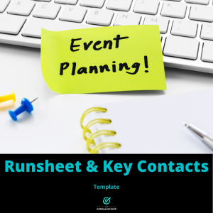 Yellow sticky note with the word Event Planning on a keyboard and drawing pins